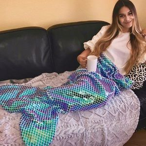 Iridescent Holo Magic Mermaid Tail Cozy Blanket 💜
